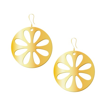 Gold round earrings with flower pattern. 3d effect isolated vector illustration on white background