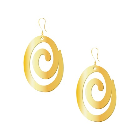 Beatiful gold earrings with wide spiral design isolated on white background. Vector illustration.