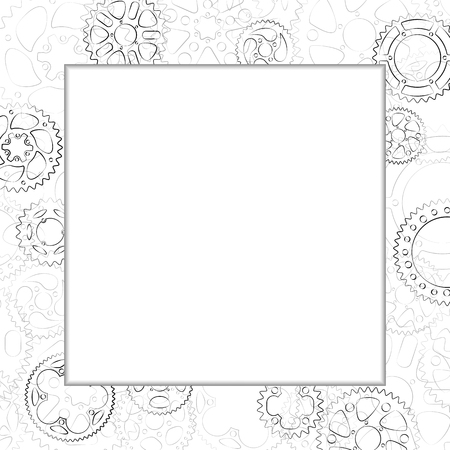 Decorative elegant border with black line gears and cogs. Blank space in center for photo, text label or menu. Square vector vintage frame with cogwheels ornament on white background. Illusztráció