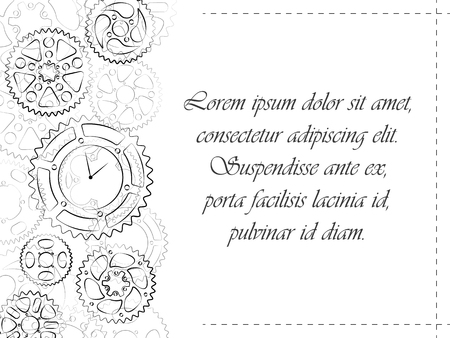 Greeting card or wedding invitation template. Clocks and gears black contour stylish design invite postcard. Elegant vector illustration with cogs and wheels background.