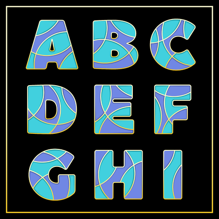 Colorful stylized ABC mosaic font with capital letters from A to I. Part 1 of 5. Enamel jewelry art isolated characters in bright violet and blue colors. Vector illustration for stylish design.