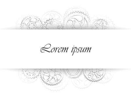 Business card or wedding invitation template. Classic greeting card design with black and white gears contour. Elegant vector postcard illustration with cogs and wheels background.