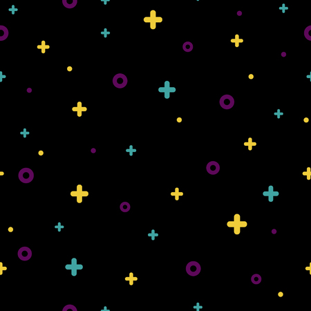 Stylish 1980s abstract memphis seamless pattern. Modern space texture with rare color funky shapes on black background. Vector illustration in memphis pop art style for fashion fabric print or booklet