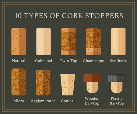 Types of cork stoppers. Vector set with different isolated corks and title for each kind on dark background. Flat design illustration for presentation or promo material. Vectores