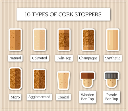 Ten isolated patches with different kinds of cork stopper. Flat design corks and title for each type on striped vintage background. Retro style vector illustration for sticker, label or web decoration