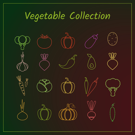 Colorful outline vegetable icon set isolated on trendy background. Vector illustration with set of green, red and yellow fresh vegetables.