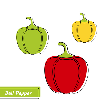 Flat design vegetable education card. Vector illustration with solid green, red and yellow isolated bell peppers, black outline and label on white backdrop.