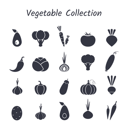 Black silhouette isolated vegetable icon set on white backdrop. Vector illustration with symbol of onion, eggplant, cabbage, pepper and other vegetables for healthy food vegeterian restaurant design.