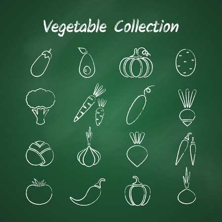 Grunge outline vegetable icon set isolated on green chalkboard.