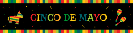 Celebration cinco de mayo web banner. Horizontal vector design template with big title cinco de mayo, funny pinata, traditional maracas and bunting. Festive colors illustration for party promo banner