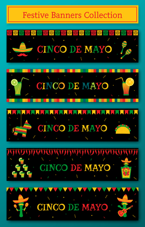 Set of 5 celebration cinco de mayo web banner. Horizontal vector illustration with pinata and taco, sombrero and maracas, tequila bottle, cocktails and mariachi band for party on cinco de mayo
