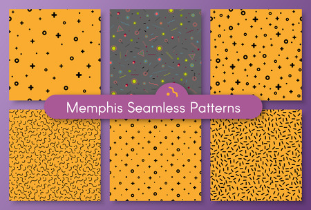 Set of cool neo hipster style memphis seamless pattern. Trendy texture with black colors funky shapes on orange or gray background. Vector illustration in memphis pop art style for modern invitation