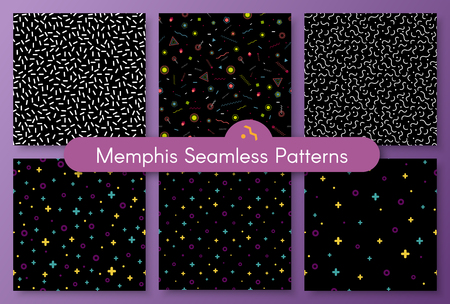 Set of stylish 1980s abstract memphis seamless pattern. Classic texture with simple funky shapes on white background. Vector illustration in memphis pop art style for fashion fabric seamless print Ilustração