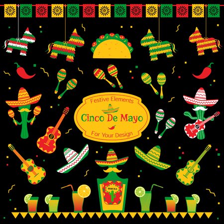 Set of traditional symbols for cinco de mayo fiesta. Sombrero and maracas, tequila bottle and cocktails, taco and pinata also cactus mariachi. Festive vector illustration for event on cinco de mayo. Illustration