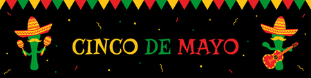 National festival cinco de mayo web banner with colorful bunting and two funny cactus mariachi in sombrero with guitar and maracas. Illustration