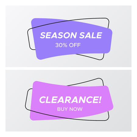 Collection of abstract sale banner in creative form. Bright colors shop clearance label with market promotion title in curved rectangle shape. Vector illustration with sale tags for marketing print.