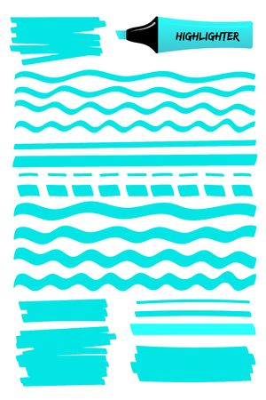 Highlighter permanent pen color hand drawn objects set. Flat blue vector illustration with scribbled rectangle, wavy lines, solid stripes and sketchy dashed or dotted strokes highlight hand drawings Illustration