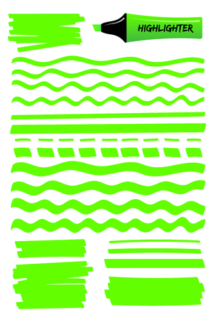 Hand drawn highlighter brush graphic set. Bright green hand drawings with solid lines, wavy strokes, dashed stripes and highlight marker sketchy boxes. Vector illustration for school style notes