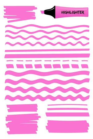 Pink hand drawn highlighter brush graphic set. Flat scribbled box with wavy lines, solid stripes and dotted strokes hand drawings with highlight permanent pen. Vector illustration for reminder note. 向量圖像