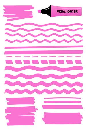 Set grafico pennello evidenziatore disegnato a mano rosa. Scatola piatta scarabocchiato con linee ondulate, strisce piene e disegni a mano tratti punteggiati con pennarello indelebile. Illustrazione vettoriale per la nota di promemoria.