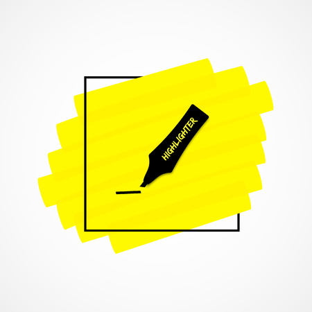 Highlighter permanent pen realistic hand drawn icon Yellow sketchy highlight marker solid stripes in stylish black frame hand drawings. Vector illustration for text memo design or school style notes.
