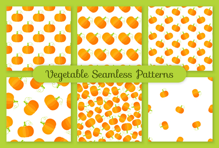 Summer vegetable seamless pattern collection. Retro background ornament set with pumpkin or squash vegetables in bright orange and yellow colors. Creative vector illustration for season menu template. 矢量图像