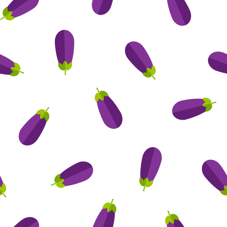 Fresh summer vegetable seamless pattern. Creative vector illustration with retro style background ornament with random ordered eggplant or aubergine vegetables in bright purple and violet colors