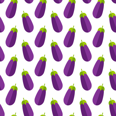 Fresh vegetable seamless pattern. Trendy background ornament with eggplant or aubergine vegetables in bright purple and violet colors. Creative vector illustration for diet decor or vintage wallpaper