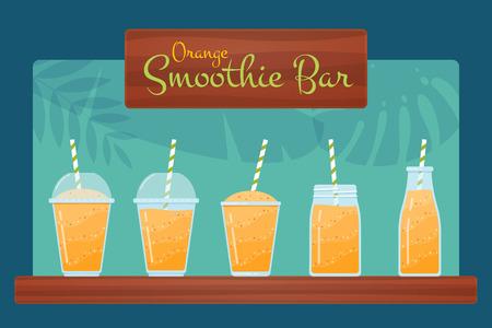 Orange raw fruit smoothies vector set. Tasty blended vitamin beverage in jar, glass and bottle, wooden sign Smoothie Bar and tropical leaves background for health food restaurant summer menu template