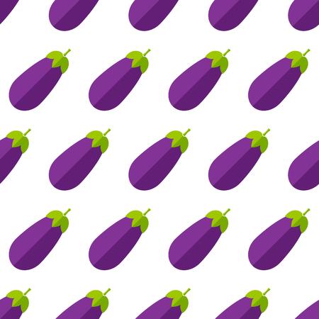 Summer vegetable seamless pattern. Trendy decoration food design background in modern purple and violet colors with eggplant or brinjal vegetables. Creative vector illustration for vintage wallpaper Vetores