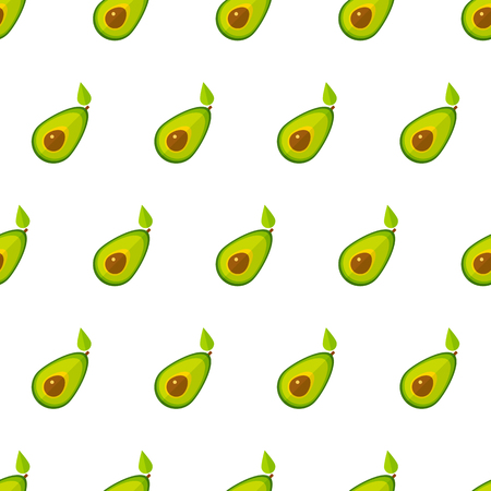 Summer vegetable seamless pattern. Retro style background ornament with geometric order avocado vegetables in bright green colors. Vector illustration for healthy diet decor or season menu template.