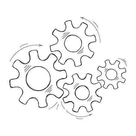 Illustration de croquis de vecteur de rouages mécaniques. Le mécanisme d'usine de concept de travail d'équipe avec pignon et engrenage dessinés à la main signifie la coopération humaine. Graphique à crémaillère pour symbole technique ou arrière-plan moderne