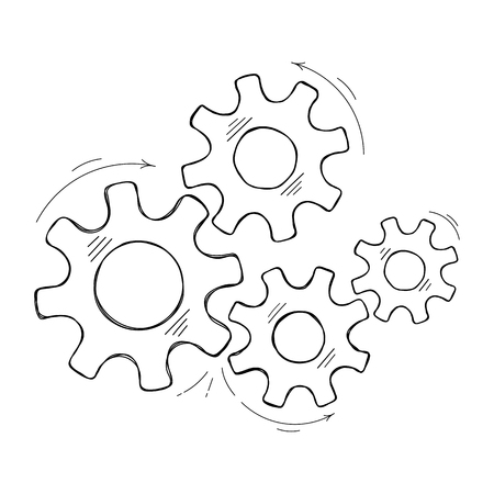 Mechanical cogs vector sketch illustration. Teamwork concept factory mechanism with hand drawn cog and gear signify human cooperation. Cogwheel graphic for technical symbol or modern background