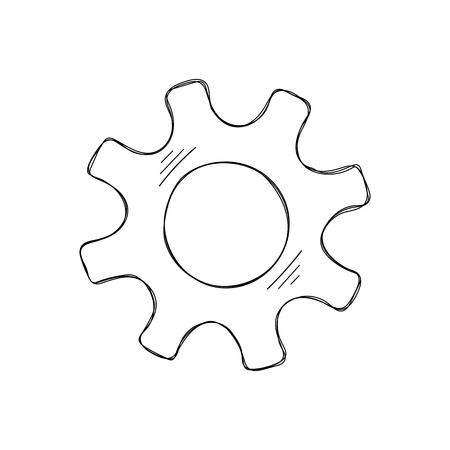 Mechanical gears vector sketch illustration. Development concept mechanism construction with hand drawn cog and gear signify innovation teamwork. Cogwheel graphic for web icons or modern background