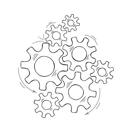 Illustration de croquis de vecteur d'engrenages mécaniques. Concept de coopération système de moteur dessiné à la main avec contour pignon et engrenage signifient le progrès humain. Graphique à crémaillère pour modèle de pictogramme ou élément Web