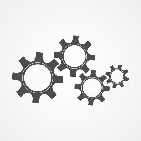 Illustration vectorielle de mécanique rouages technologie. Le système de moteur de concept de coopération avec pignon et engrenage contour noir signifie le progrès humain. Graphique à crémaillère pour fond moderne ou modèle de signe Vecteurs