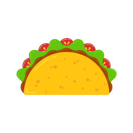 Mexican cuisine fast food delicious tacos drawing. Vector flat illustration traditional taco meal with meat sauce, beef or chicken, tomato and salad isolated on white background for cafe menu. Vector Illustration