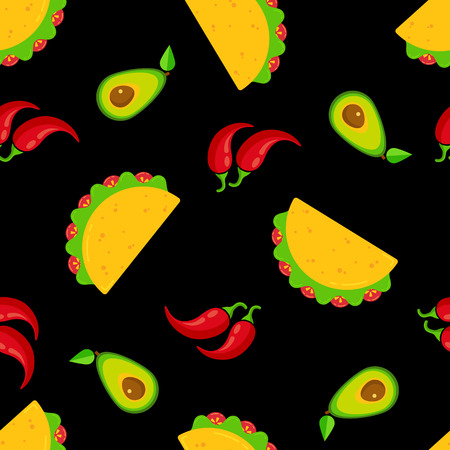 Traditional mexican cuisine tacos seamless pattern. Group of taco with beef or chicken meat, salad and tomato, red chili pepper and green avocado on black background for cafe festival decoration