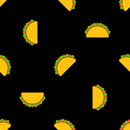 Traditional taco meal vector seamless pattern. Mexican fast food tacos with beef or chicken meat, green salad and red tomato randomly ordered on black background for national taco day festive design