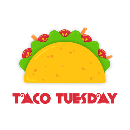 Traditional tacos meal tuesday event illustration. Spicy delicious vector taco with beef or chicken, green salad and red tomato with big sign Taco Tuesday for restaurant celebration design decoration.