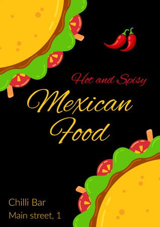 Tasty mexican taco food celebration menu template. Two delicious tacos with beef, salad, tomato, carrot sticks and meat sauce, hot and spicy chili pepper for traditional Taco Tuesday restaurant party Illustration