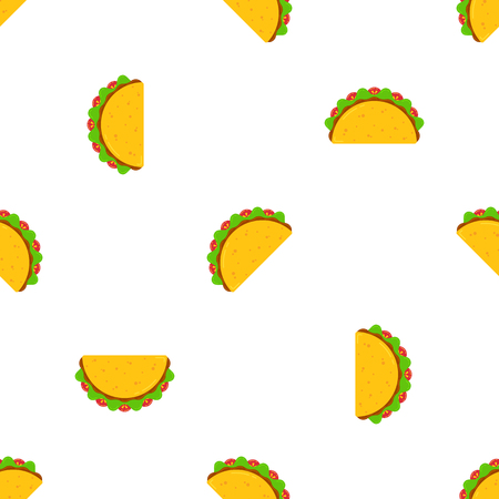 Mexican taco tuesday festival seamless pattern. Delicious fastfood yellow tacos with beef and chicken, green salad and red tomato on white background for cafe party, restaurant season offer design