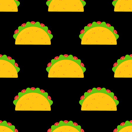 Delicious mexican taco food seamless pattern. Tasty fresh beef meat or vegetable tacos with salad and tomato evenly ordered on black background. Vector texture illustration for national celebration