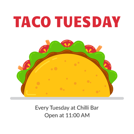 Traditional mexican fastfood taco tuesday poster. Tasty beef meat, salad, tomato and carrot sticks in delicious tacos with sign Taco Tuesday. Vector illustration for food truck or restaurant party. Vektorové ilustrace