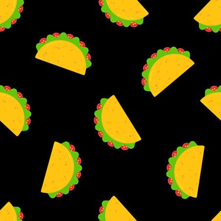Patrón sin fisuras de la comida de taco mexicano festivo. Deliciosos tacos de carne o verduras con ensalada y tomate ordenados al azar sobre fondo negro. Ilustración de vector de plantilla de menú de cafetería de celebración