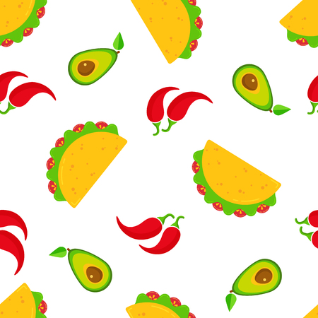 Traditional taco day vector seamless pattern. National fastfood illustration tacos with beef, salad and tomato, green avocado and hot chili peppers randomly ordered on white background for cafe design