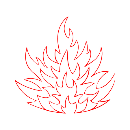 Sketched campfire flames silhouette illustration. Hell heat blazing inferno bonfire with red hand drawn contour fire flame isolated on white background for safety emblem or gas explosion danger sign