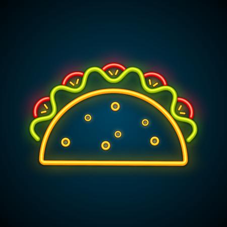 Cartel de neón de taco de comida tradicional mexicana. Sabrosa carne de res o pollo, ensalada, tomate en deliciosos tacos ligeros brillantes aislados. Ilustración de vector de plantilla de publicidad de vida nocturna de café Ilustración de vector