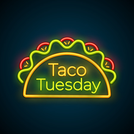 Illustration vectorielle de taco traditionnel mardi néon signe. Tacos épicés au bœuf, salade verte et tomate rouge avec grande étiquette rougeoyante Taco Tuesday pour la publicité d'un événement dans un restaurant ou un café