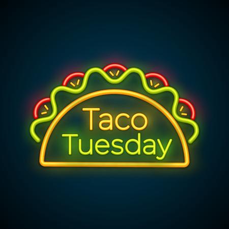 Traditionelle Taco-Dienstag-Neonlichtzeichenvektorillustration. Würzige Tacos mit Rindfleisch, grünem Salat und roter Tomate mit dem großen leuchtenden Etikett Taco Tuesday für Restaurant- oder Café-Nachtveranstaltungswerbung
